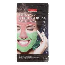 Purederm Galaxy 2x Bubble Sparkling Multi Mask Pink & Green  (Attīroša sejas maska)