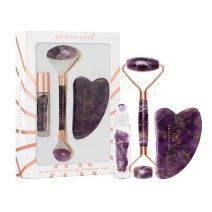 Crystallove Amethyst Roller And Gua Sha Set  (Komplekts)